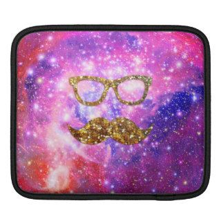 Gold Glitter Mustache Hipster Glasses Pink Nebula Sleeve For iPads