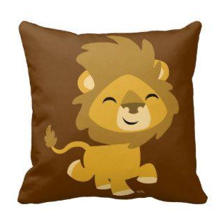 Almohada feliz linda del león del dibujo animado de