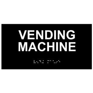 ADA Vending Machine With Symbol Braille Sign RSME 630 WHTonBLK  Business And Store Signs
