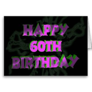 Neon Happy 60th Birthday Card