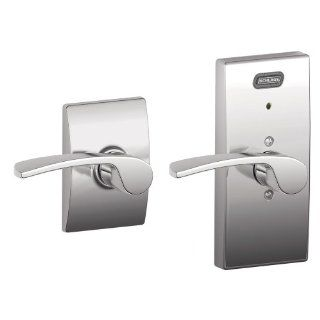 Schlage FE10 MER 625 CEN Built in Alarm, Century Collection Merano Hall and Closet Lever Door Lock, Bright Chrome   Doorknobs