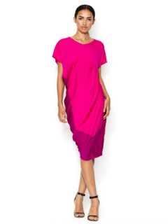 Silk V Neck Colorblock Dress by Narciso Rodriguez