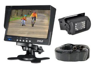 Pyle PLCMTR71 Weatherproof Rearview Backup Camera System Kit with 7�� LCD Color Monitor, IR Night Vision Camera, Dual DC Voltage 12 24 for Bus, Truck, Trailer, Van  Vehicle Backup Cameras