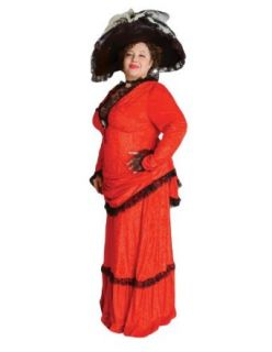 Deluxe Plus Size Victorian Lady Theatrical Quality Costume, Red Adult Sized Costumes Clothing