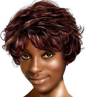 Capless Short High Quality Synthetic Nature Look Brown Curly Hair Wig Health & Personal Care