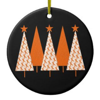 Christmas Trees   Orange Ribbon Ornaments
