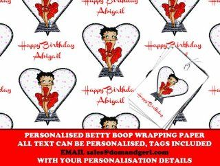 Personalized Wrapping Paper Betty Boop   590mm x 840mm   FREE MATCHING GIFT TAGS   NEXT DAY DESPATCH! (BB US): Health & Personal Care