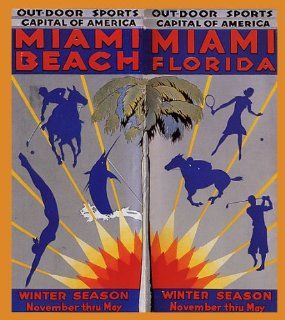 FISHING GOLF SWIM TENNIS MIAMI BEACH FLORIDA BEACH VACATION TRAVEL TOURISM LARGE VINTAGE POSTER REPRO   Prints