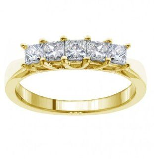 1.00 CT TW 5 Stone Princess Cut Braided Prongs Anniversary Wedding Ring in 18k Yellow Gold: Jewelry