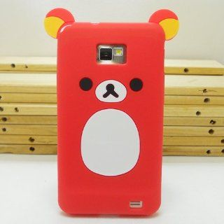 United Electek Cute Cartoon Design 3D Teddy Bear Silicone Rubber Case Cover for Samsung Galaxy S2 i9100 / i777 / i9108, Not Fit S2 T989/ i727/ R760/ Epic 4G Touch SPH D710   Red: Cell Phones & Accessories