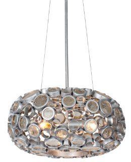Varaluz 165C03SNV Fascination Collection 3 Light Chandelier, Nevada Finish with Recycled Clear Glass Discs   Ceiling Pendant Fixtures