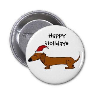 Funny Dachshund in Santa Hat Christmas Cartoon Pinback Button