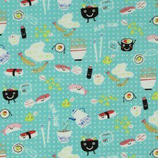 Timeless Treasures Japanese Sushi Aqua Blue, 44 inch (112cm) Wide Cotton Fabric Yardage