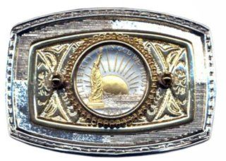 24k Gold on Sterling Silver Coin Belt Buckle Us Statue of Liberty Half Dollar