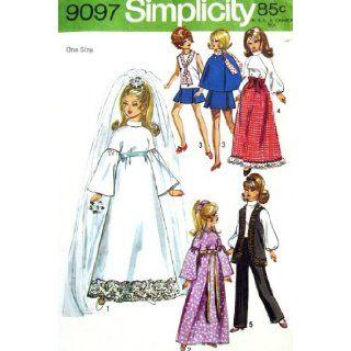 "Simplicity 9097 Barbie 1970s Groovy Wardrobe 11 1/2"" Fashion Doll Wedding Dress, Vest, Cape: Simplicity Pattern Co: Books"