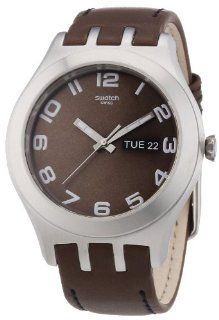 Swatch Irony Brown Classic Leather Strap Mens Watch YTS713 at  Men's Watch store.