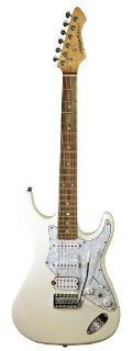 Aria 714 Standard Electric Guitar   Vintage White: Musical Instruments
