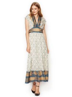 Wallpaper Toile Deep V Maxi Dress by Anna Sui