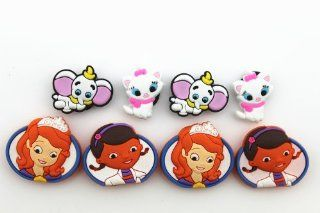 8pcs Sofia the First, Doc Mcstuffins, Dumbo,marie Cat Shoe Charms Fits Jibbitz Croc Shoes: Toys & Games