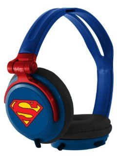 iHip DCF2400SU Classic Superman Logo Hi Fi Noise Reducing, Folding Headphones Blue/Red (Discontinued by Manufacturer): Electronics