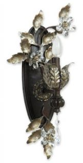"""Yosemite Home Decor SPJ743 Splendido Handmade One Light Wall Sconce with Egyptian Crystals in Oxido Finish with Gold Highlights, 11.25"""" x 23"""""""