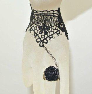 Goth Gothic Lolita Retro Vintage Vampire Tassels Black Roses Ring Lace Bracelet   Jewelry Organizers