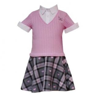 Rare Editions Little Girls 4 6X PINK GRAY PLAID POODLE DROP WAIST MOCK LAYERED Dress (4): Clothing