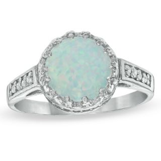 0mm Lab Created Opal and White Topaz Crown Ring in Sterling Silver