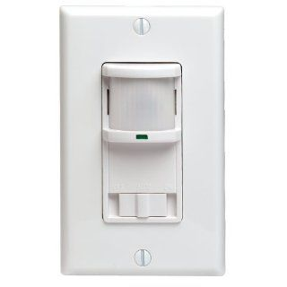 Leviton PR180 1LW Decora 500W Incandescent, 400VA, Passive Infrared Wall Switch Occupancy Sensor, Single Pole and 3 Way, White   Motion Activated Wall Switches