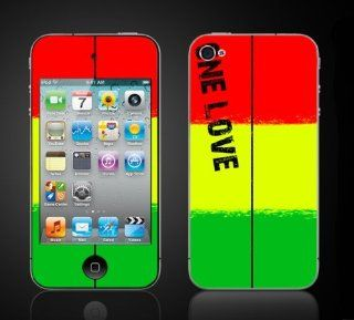 iPod Touch 4G Rasta Reggae One Love Red Gold Green Vinyl Skin kit fits 4th generation iPod apple iTouch decal cover Skins