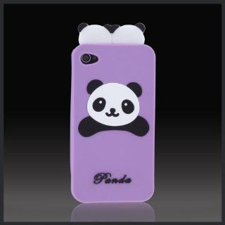 "Purple Panda Bears ""Flexa"" flexible silicone soft skin case cover for Apple iPhone 4 4G 4S Cell Phones & Accessories"