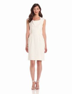 Adrianna Papell Women's Woven Side Rouched Dress, White, 6 at  Women�s Clothing store