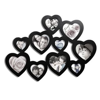 Adeco Adeco 10 photo Black Wood Heart shaped Picture Frame Black Size Other