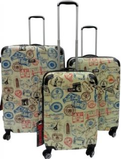 Kemyer, Series 777, Hard Case, 4 Wheel Spinners, Light Weight, Durable Luggage, Set of 3 (Stamp Silver) Clothing