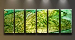 Metal Wall Art Abstract Modern Contemporary Painting Large 6 Panels Green Leaf   Wall Sculptures