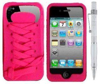 PINK SNEAKER SHOE LACE   Premium Design Protector Phone Cover Case Compatible for Apple Iphone 4 / 4S  AT&T, VERIZON, SPRINT  w/ Bonus Pen