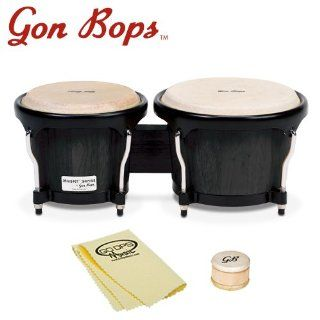 Gon Bops FS785BK KIT 1 Fiesta Series Bongos with Shaker and GoDpsMusic Polish Cloth   Black: Musical Instruments