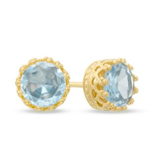 0mm Lab Created Aquamarine Crown Earrings in Sterling Silver with