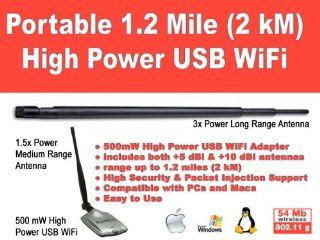 Portable 1.2 mile 500mW High Power USB WiFi 802.11b/g with 1.5x and 3x Boosters Computers & Accessories