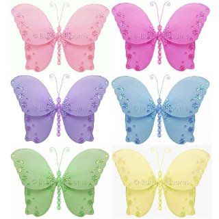 """Butterfly Decorations 5"""" Small Twinkle Nylon Hanging Butterflies Decor 6 piece Set (Pink, Dark Pink, Purple, Yellow, Blue, Green)   Decorate for a Baby Nursery Bedroom, Girls Room Ceiling Wall Decor, Wedding Birthday Party, Bridal Baby Shower, Bathroo"""