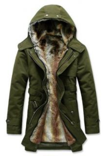 Hee Grand Men's Luxury Faux Fur Long Winter Trench Coat at  Men�s Clothing store