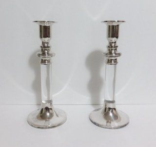 Vintage Pair Lord & Taylor Silverplate Silver Candle Holders Holder Set  Tea Light Holders