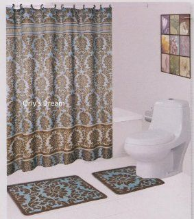 "15 pc. Bath Mat Set / Fabric Shower Curtain / Fabric Covered Hooks   ""Damask"" Blue   Pillowcase And Sheet Sets"