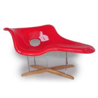Kardiel Eames Style La Chaise Lounge Chair Fiberglass, Red/Natural Wood   Herman Miller Eames