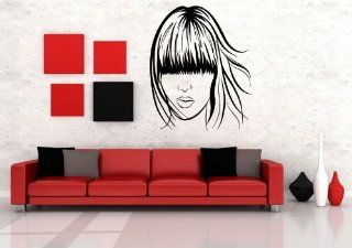 Wall Vinyl Sticker Decals Mural Design Art Woman Hair Cut Long Forelock Salon Fashion 805   Wall Decor Stickers
