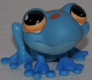 Frog #806 (Aqua, Orange Eyes, Blue Toes, Red Spots) Littlest Pet Shop (Retired) Collector Toy   LPS Collectible Replacement Single Figure   Loose (OOP Out of Package & Print)