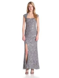 Hailey by Adrianna Papell Women's Cap Sleeve Gown with Side Slit, Gunmetal, 2 at  Women�s Clothing store: