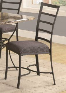 Set of Dining Chairs with Ladder Back in Black Metal Finish