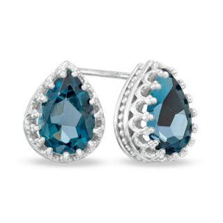 Pear Shaped London Blue Topaz Crown Earrings in Sterling Silver