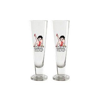 Betty Boop Leg Kick Pilsner Glasses Set of 2 (d): Kitchen & Dining